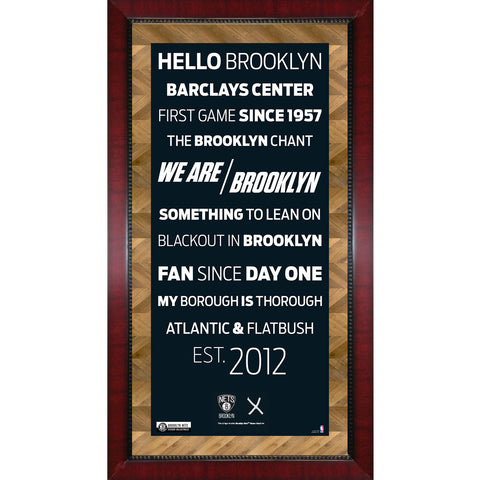 Brooklyn Nets Subway Sign w Game Used Net Framed 16x32 Photo (Brick Background) - Steiner Sports - Dropship Direct Wholesale