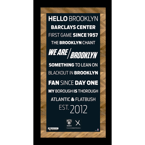 Brooklyn Nets Subway Sign w Game Used Net Mini Framed 10x20 Photo (Brick Background) - Steiner Sports - Dropship Direct Wholesale