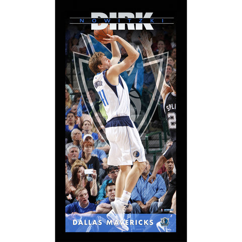Dirk Nowitzki Dallas Mavericks Player Profile Wall Art 9.5x19 Framed Photo - Steiner Sports - Dropship Direct Wholesale