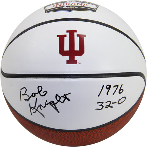 Bob Knight Signed Indiana University White Panel Basketball w 1976 32-O Insc. (LE76) - Steiner Sports - Dropship Direct Wholesale