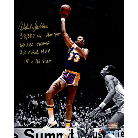 Kareem Abdul Jabbar Signed 16x20 Photo on Metallic Paper w Career Stats Insc. (LE of 33) - Steiner Sports - Dropship Direct Wholesale
