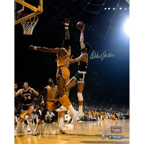 Kareem Abdul Jabbar Autographed 16x20 Photo of hook shot against Wilt (Getty 81340454) - Steiner Sports - Dropship Direct Wholesale