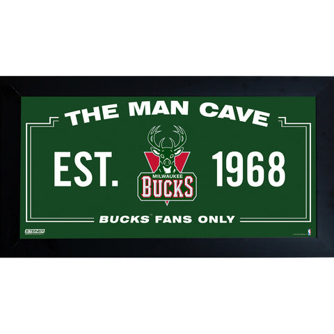 Milwaukee Bucks Man Cave Sign 6x12 Framed Photo - Steiner Sports - Dropship Direct Wholesale