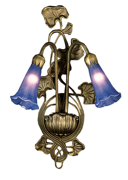 11 Inch W Blue Pond Lily 2 Lt Wall Sconce - Meyda - Dropship Direct Wholesale