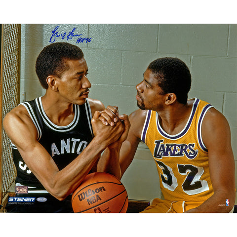 George Gervin Hand Shake with Magic Johnson Signed 16x20 Photo w HOF 96Insc. - Steiner Sports - Dropship Direct Wholesale