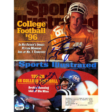 Archie and Peyton Manning Dual Signed 8261996 Sports Illustrated Magazine - Steiner Sports - Dropship Direct Wholesale