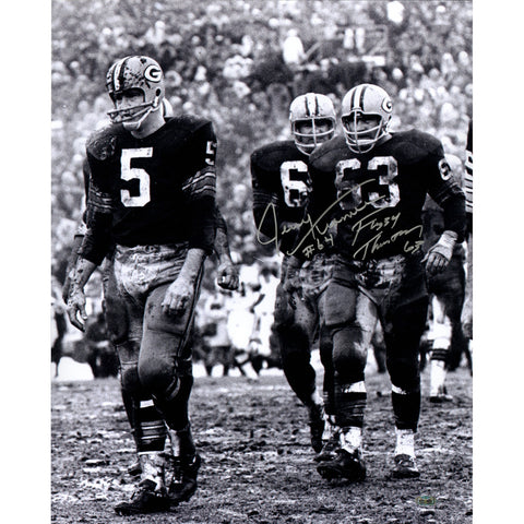 Fuzzy Thurston Jerry Kramer Dual Signed 16x20 Vertical BW Photo Signed in Silver - Steiner Sports - Dropship Direct Wholesale