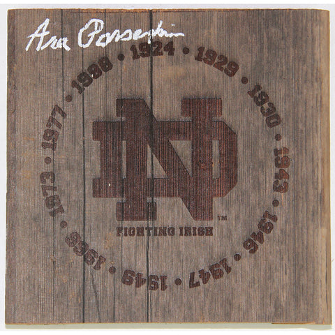 Ara Parseghian Signed Notre Dame Fighting Irish Engraved 7x7 Bench Slab with National Champion Years - Steiner Sports - Dropship Direct Wholesale