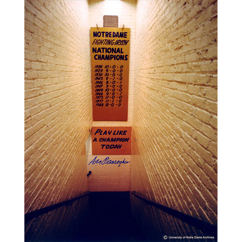 Ara Parseghian Signed Notre Dame Locker Room Tunnel w Play Like a Champion Sign Vertical 16x20 Photo - Steiner Sports - Dropship Direct Wholesale