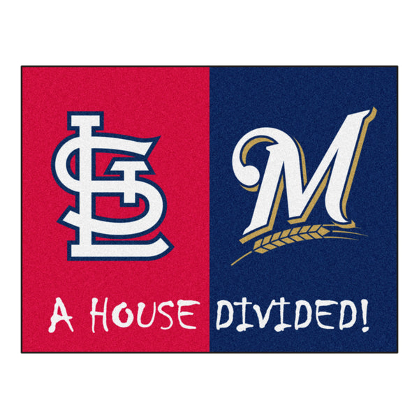 Cardinals - Brewers MLB House Divided Rugs 33.75x42.5 - FANMATS - Dropship Direct Wholesale