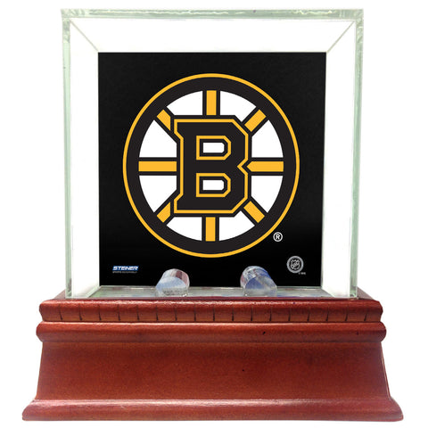 Boston Bruins Glass Single Puck Case with Team Logo Background - Steiner Sports - Dropship Direct Wholesale