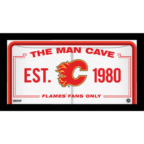 Calgary Flames Man Cave Sign 6x12 Framed Photo - Steiner Sports - Dropship Direct Wholesale