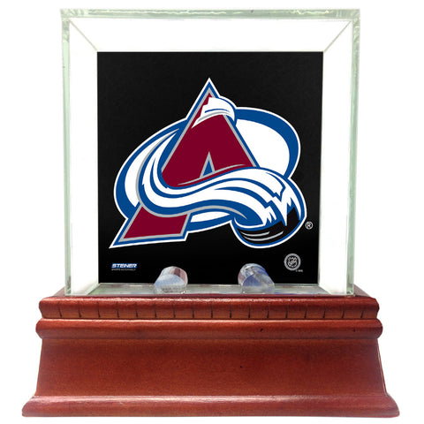 Colorado Avalanche Glass Single Puck Case with Team Logo Background - Steiner Sports - Dropship Direct Wholesale