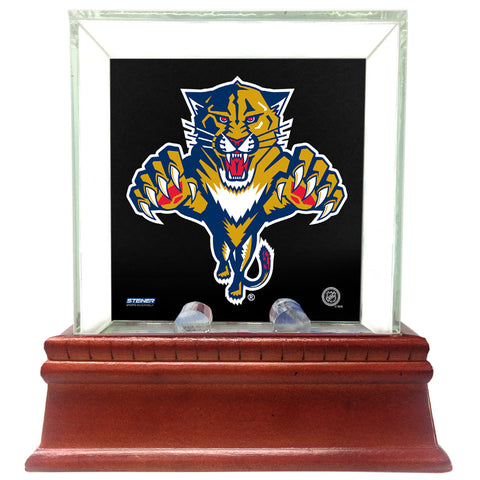 Florida Panthers Glass Single Puck Case with Team Logo Background - Steiner Sports - Dropship Direct Wholesale