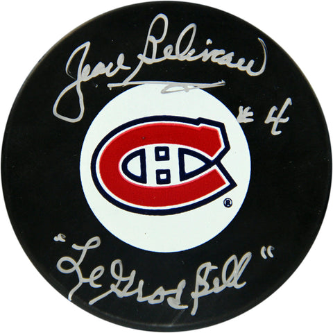 Jean Beliveau Montreal Canadiens Signed Puck w Le Gros Bill Insc. (AJ Sports Auth) - Steiner Sports - Dropship Direct Wholesale