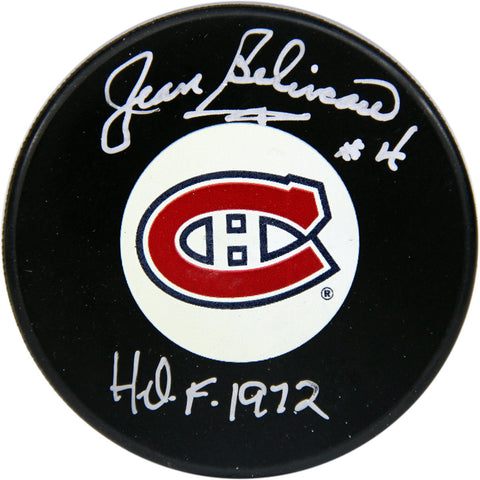 Jean Beliveau Montreal Canadiens Signed Puck with HOF 1972 Insc (AJ Sports Auth) - Steiner Sports - Dropship Direct Wholesale