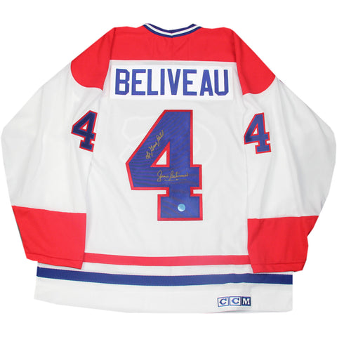 Jean Beliveau Montreal Canadiens Signed Retro CCM Jersey w Le Gros Bill (AJ Sports Auth) - Steiner Sports - Dropship Direct Wholesale