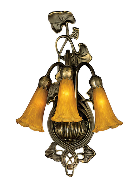 10.5 Inch W Amber Pond Lily 3 Lt Wall Sconce - Meyda - Dropship Direct Wholesale