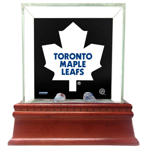 Toronto Maple Leafs Glass Single Puck Case with Team Logo Background - Steiner Sports - Dropship Direct Wholesale