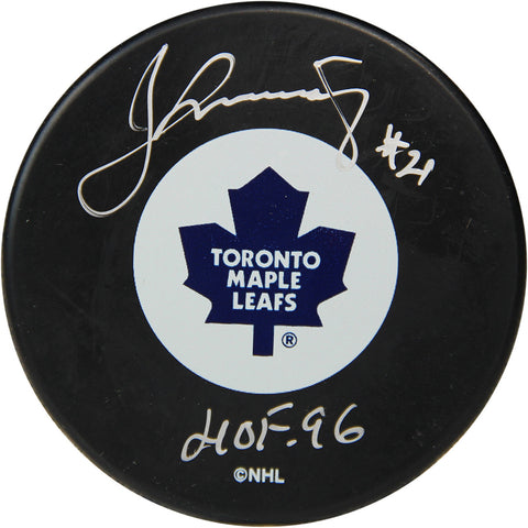 Borje Salming Signed Toronto Maple Leafs Puck w HOF 96 Insc. (Sport Authentix Auth) - Steiner Sports - Dropship Direct Wholesale
