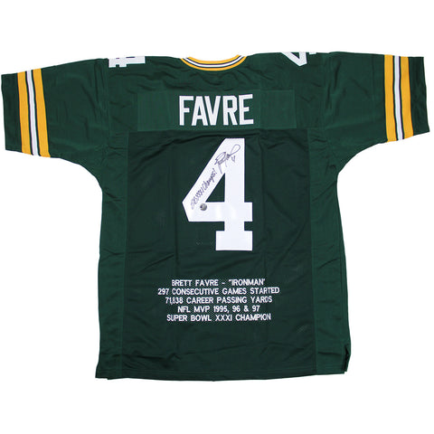 Brett Favre Signed Embroidered Green Bay Packers Jersey w SB XXXI Champs Insc. (Brett Favre Auth) - Steiner Sports - Dropship Direct Wholesale