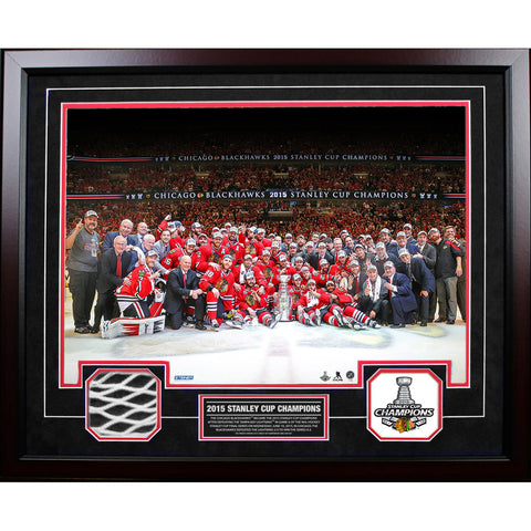 Chicago Blackhawks 2015 Stanley Cup Champion 20x24 Collage w Game Used Net Piece - Steiner Sports - Dropship Direct Wholesale