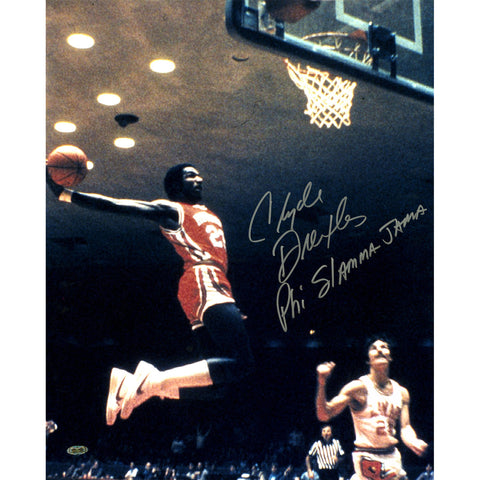 Clyde Drexler Air Dunk Signed 16x20 Photo w PHI SLAMMA JAMAInsc. - Steiner Sports - Dropship Direct Wholesale