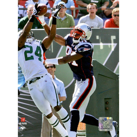 Darrelle Revis Interception vs Randy Moss of The New England Patriots Vertical 8x10 Photo - Steiner Sports - Dropship Direct Wholesale