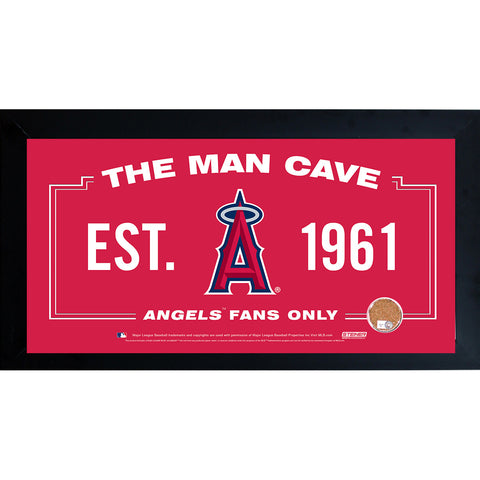 Los Angeles Angels Man Cave Framed 10x20 Sign w Authentic Game-Used Dirt (MLB Auth) - Steiner Sports - Dropship Direct Wholesale
