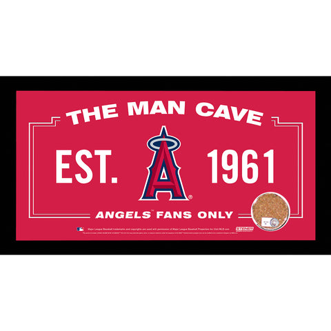 Los Angeles Angels Man Cave Sign 6x12 Framed Photo With Authentic Game-Used Dirt (MLB Authenticated) - Steiner Sports - Dropship Direct Wholesale