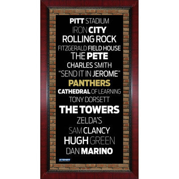 Pittsburgh Panthers Subway Sign Framed 16x32 Photo (Brick Background) - Steiner Sports - Dropship Direct Wholesale