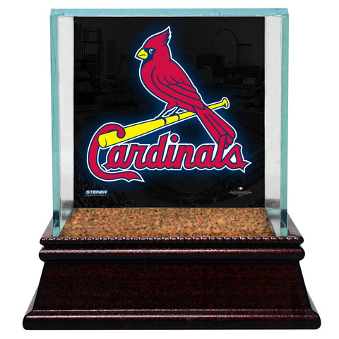 St. Louis Cardinals Glass Single Baseball Case with Team Logo Background and Authentic Field Dirt Base (MLB Auth) - Steiner Sports - Dropship Direct Wholesale