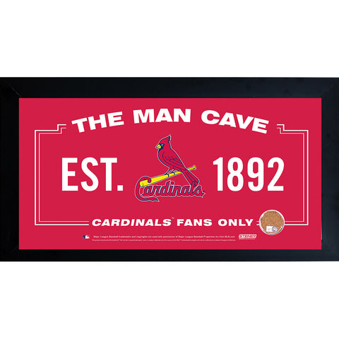 St. Louis Cardinals Man Cave Framed 10x20 Sign w Authentic Game-Used Dirt (MLB Auth) - Steiner Sports - Dropship Direct Wholesale