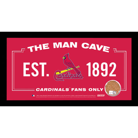 St. Louis Cardinals Man Cave Sign 6x12 Framed Photo With Authentic Game-Used Dirt (MLB Authenticated) - Steiner Sports - Dropship Direct Wholesale