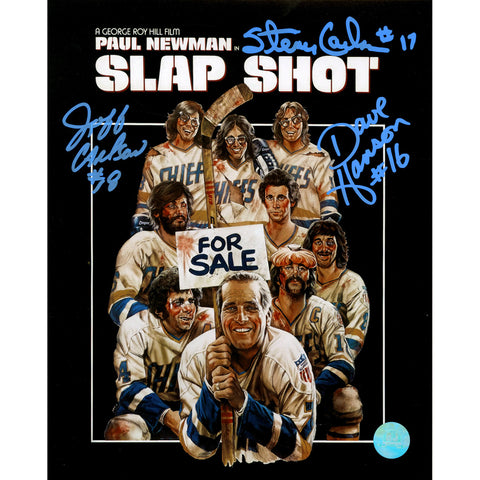 The Hanson Brothers Signed Charleston Chiefs Slap Shot Movie Poster 8x10 Photo (AJ Sports Auth) - Steiner Sports - Dropship Direct Wholesale