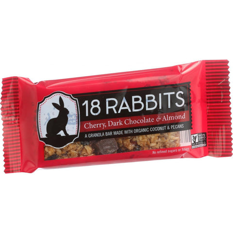 18 Rabbits Organic Granola Bar - Cherry Dark Chocolate and Almond - Case of 12 - 1.6 oz Bars - 18 Rabbits - Dropship Direct Wholesale