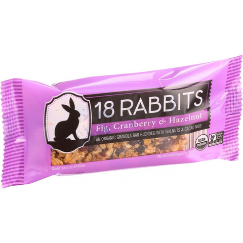 18 Rabbits Organic Granola Bar - Fig Cranberry and Hazelnut - Case of 12 - 1.6 oz Bars - 18 Rabbits - Dropship Direct Wholesale