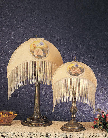 11 Inch H Reverse Painted Roses Fabric With Fringe Accent Lamp - Meyda - Dropship Direct Wholesale
