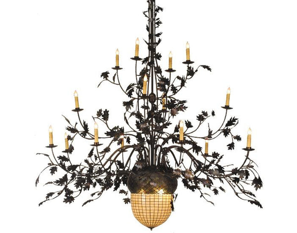 100 Inch W Greenbriar Oak 16 Arm Chandelier - Meyda - Dropship Direct Wholesale