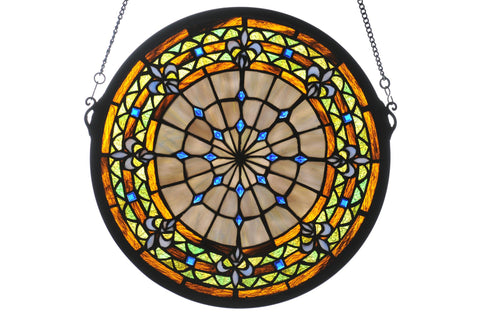 13 Inch W X 13 Inch H Fleur-de-lis Medallion Stained Glass Window - Meyda - Dropship Direct Wholesale