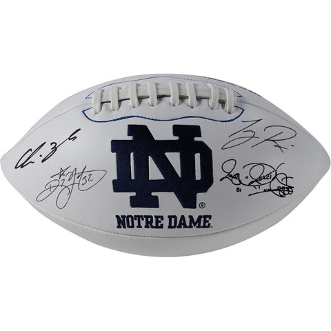 1988 Notre Dame 6 Signature Notre Dame White Panel Football Signed by Lou Holtz/Ricky Watters/Rocket Ismail/Tony Rice/Chris Zorich/Michael Stonebreaker