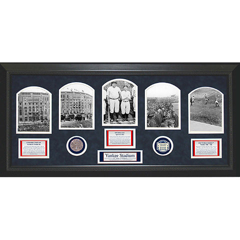 1923 Yankee Stadium 5 Photo Game Used Commemorative Dirt Collage 14x32 - Steiner Sports - Dropship Direct Wholesale