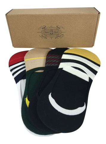 4 Pair No-Show Socks with Silicone Grip - Bali Collection - Modern Motif - Dropship Direct Wholesale - 2