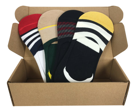 4 Pair No-Show Socks with Silicone Grip - Bali Collection - Modern Motif - Dropship Direct Wholesale - 1