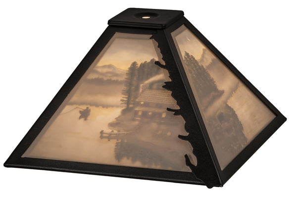 11 Inch Sq A Day On The Lake Porcelain Lithophane Shade - Meyda - Dropship Direct Wholesale