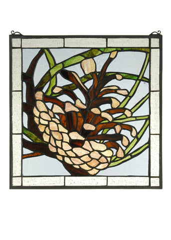 12 Inch W X 12 Inch H Square Pinecone Stained Glass Window - Meyda - Dropship Direct Wholesale