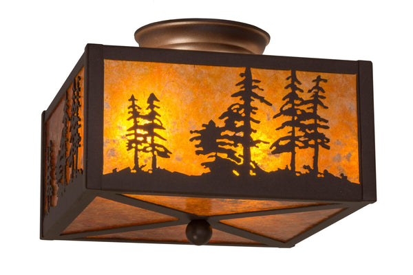 10 Inch Sq Tall Pines Flushmount - Meyda - Dropship Direct Wholesale
