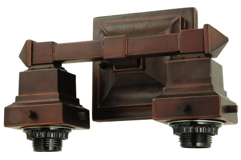 10 Inch W Mission Mahogany Bronze 2 Lt Wall Sconce Hardware - Meyda - Dropship Direct Wholesale