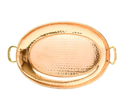 17 x 13 Oval Decor Copper Tray w/Cast Brass Handle - Old Dutch - Dropship Direct Wholesale