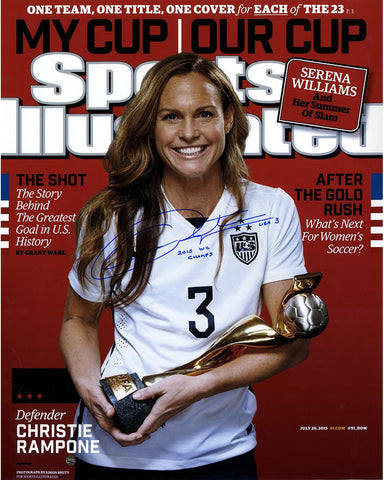Christie Rampone Signed 2015 World Cup Sports Illustrated Magazine 16x20 Photo w/ 2015 WC Champs Insc